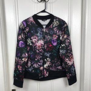 bebe floral bomber satin jacket floral black